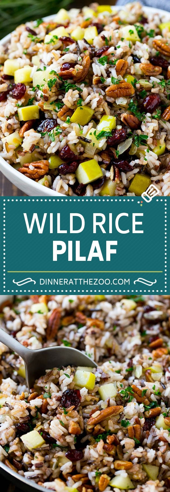 Wild Rice Pilaf Recipe | Thanksgiving Side Dish | Rice Pilaf #rice #apple #cranberry #fall #glutenfree #thanksgiving #dinneratthezoo