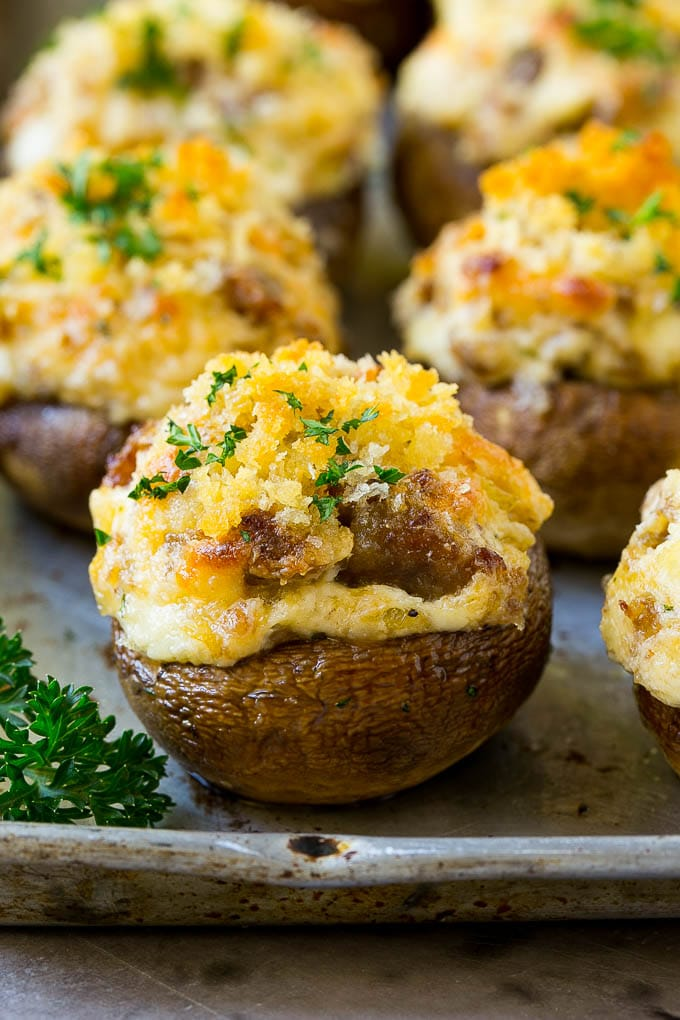 Sausage stuffed mushrooms filled with Italian sausage and three types of cheese.