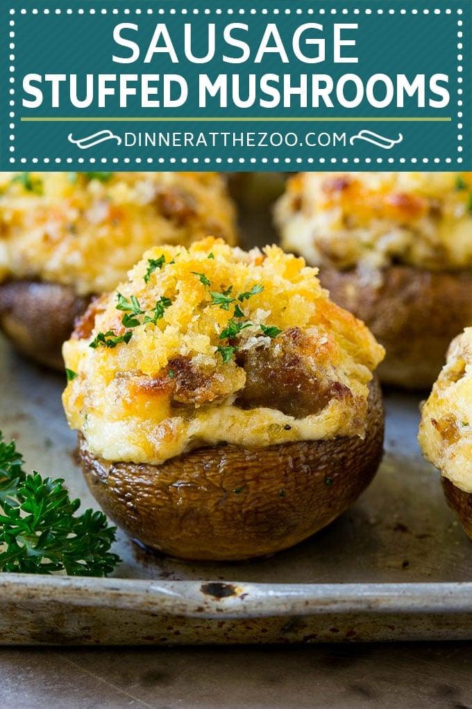 Sausage Stuffed Mushrooms Recipe | Stuffed Mushrooms | Mushroom Appetizer #mushrooms #sausage #appetizer #lowcarb #keto #dinneratthezoo