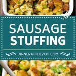 Sausage Stuffing Recipe   Thanksgiving Stuffing   Make Ahead Stuffing #stuffing #thanksgiving #sausage #sidedish #dinner #dinneratthezoo