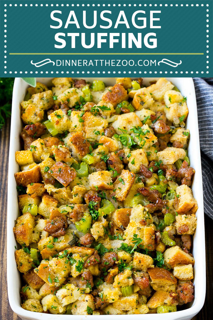 Sausage Stuffing Recipe | Thanksgiving Stuffing | Make Ahead Stuffing #stuffing #thanksgiving #sausage #sidedish #dinner #dinneratthezoo