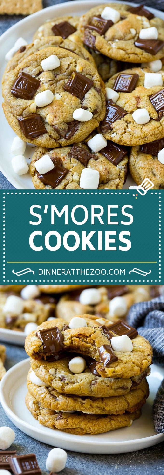 S'mores Cookies Recipe | Marshmallow Cookies #smores #marshmallow #chocolate #cookies #dessert #dinneratthezoo