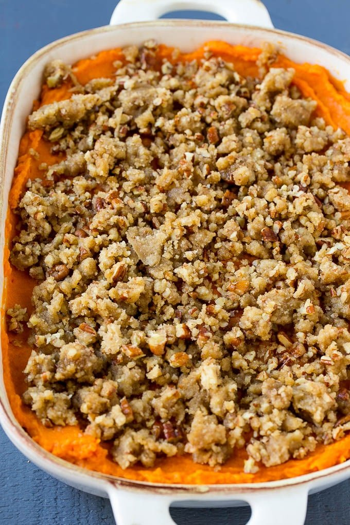 Sweet potato casserole topped with pecan streusel.