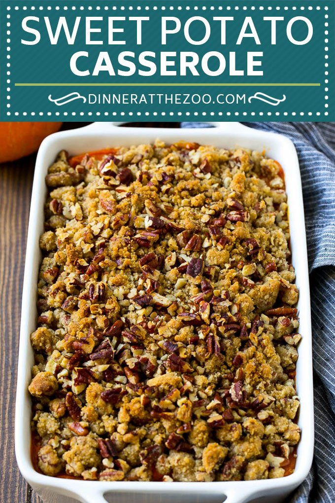 Sweet Potato Casserole with Pecans Recipe | Sweet Potato Casserole | Sweet Potato Side Dish #sweetpotatoes #thanksgiving #pecans #casserole #sidedish #holiday #fall #dinneratthezoo