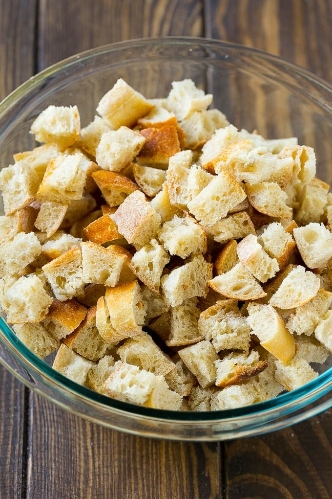 Dried bread cubes in a mixing bowl.