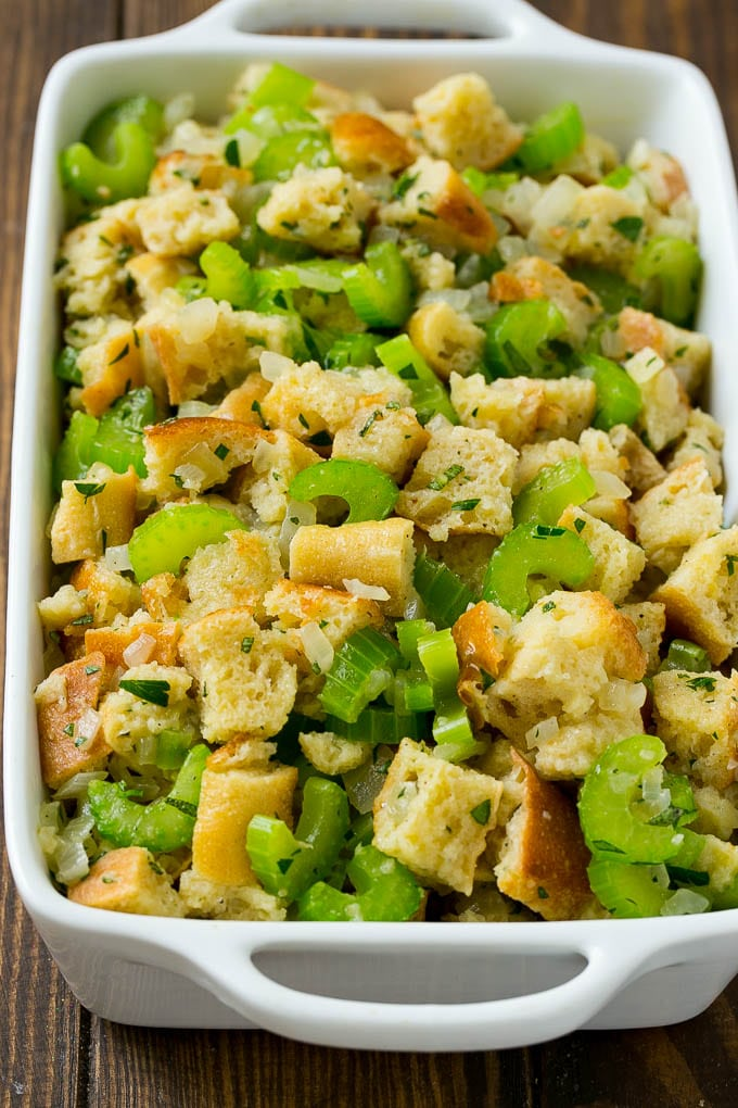 Uncooked turkey stuffing in a baking dish.