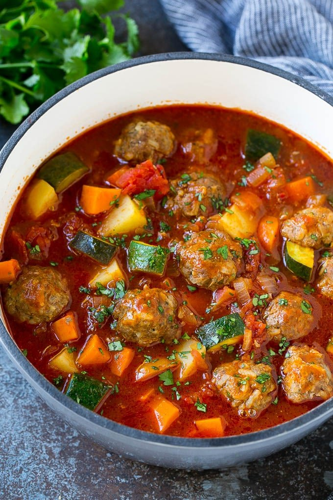 Albondigas soup made with beef meatballs, vegetables and potatoes.