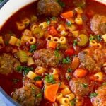 Italian meatball soup with beef meatballs, ditalini pasta and vegetables in a tomato broth.