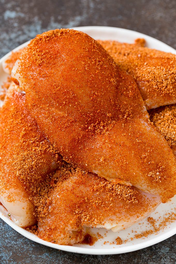 Chicken breasts coated in homemade BBQ rub.