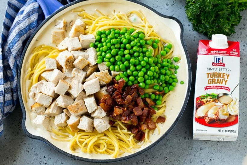 A pan of pasta in creamy sauce, topped with turkey, peas and bacon.