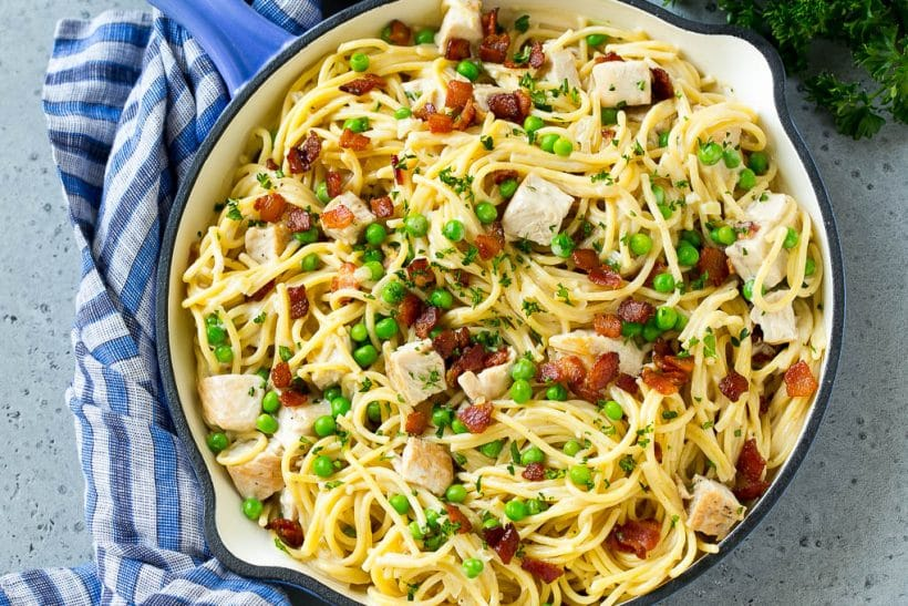 A pan of turkey carbonara pasta with bacon, peas and fresh parsley.