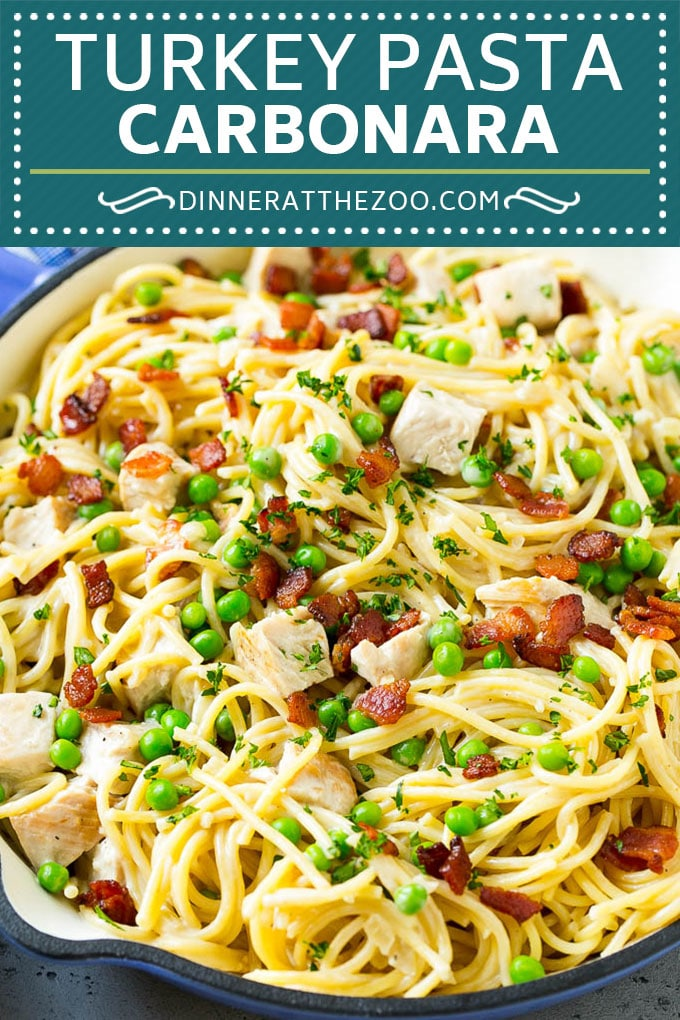 Turkey Pasta Carbonara | Turkey Pasta | Leftover Turkey Recipe #turkey #pasta #bacon #peas #dinner #dinneratthezoo