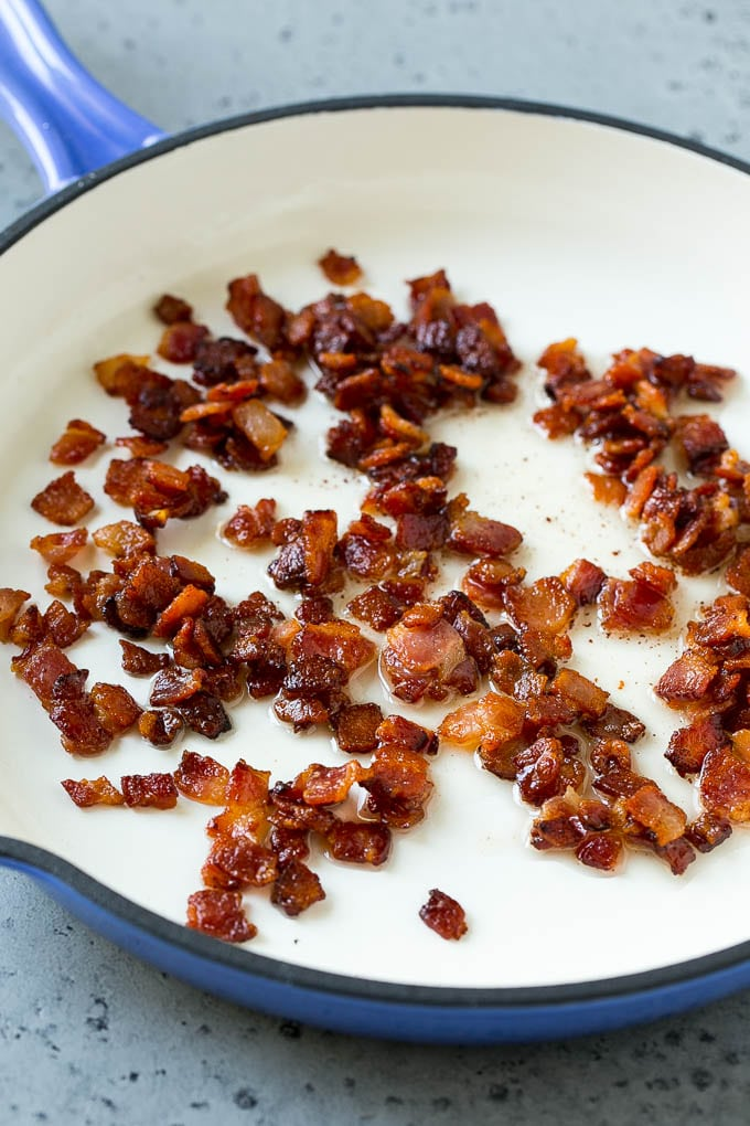 Cooked bacon in a skillet.