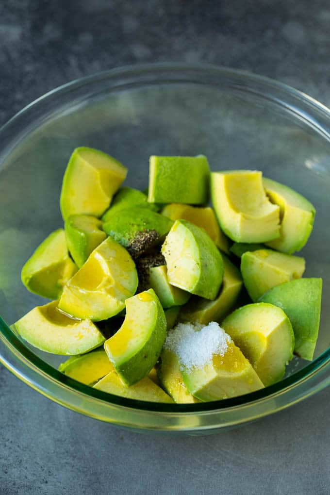 Cubed avocado with olive oil, salt and pepper.