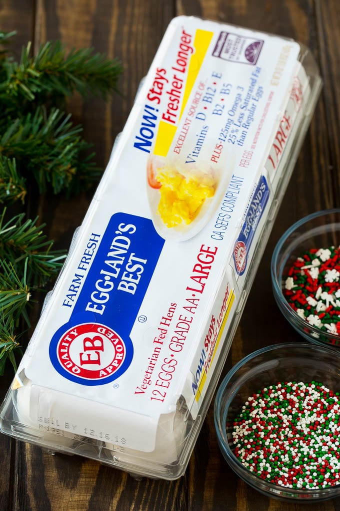 Eggland's Best eggs and holiday sprinkles.
