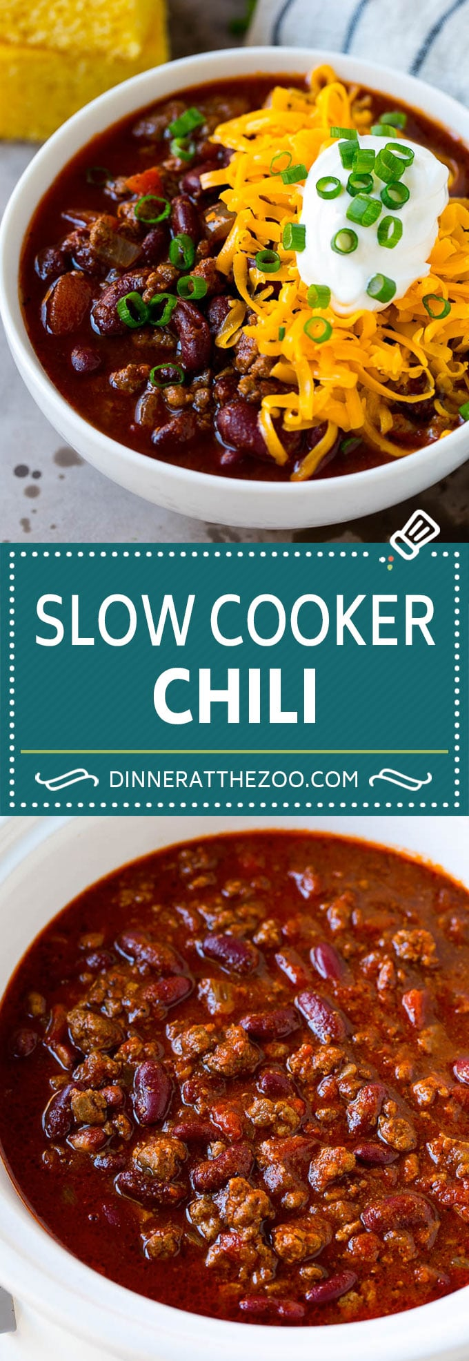 Slow Cooker Chili Recipe | Crock Pot Chili | Beef Chili | Beef and Bean Chili #chili #soup #beef #slowcooker #crockpot #dinner #dinneratthezoo