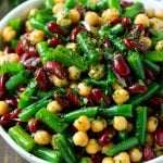 Three bean salad with green beans, garbanzo beans and kidney beans in a homemade dressing.