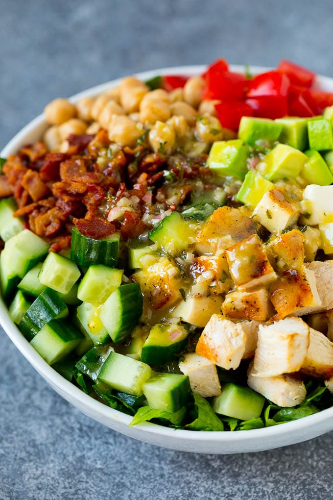 Chicken, cucumber, avocado, chickpeas, tomato and bacon topped with homemade dressing.