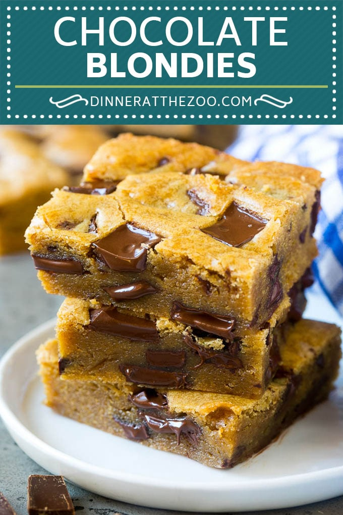 Blondies Recipe | Chocolate Chunk Blondies | Bar Cookies #blondies #cookies #chocolate #dessert #sweets #dinneratthezoo