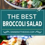 Broccoli Salad Recipe | Creamy Broccoli Salad | Bacon Broccoli Salad #salad #broccoli #bacon #apple #dinneratthezoo #sidedish