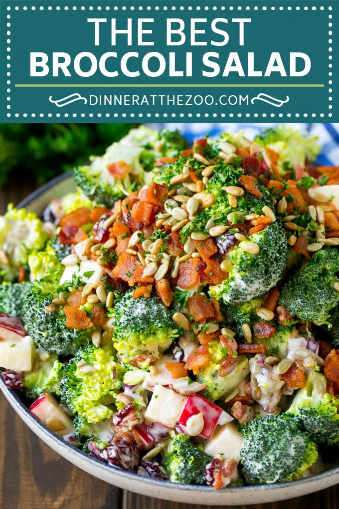 Broccoli Salad Recipe | Creamy Broccoli Salad | Bacon Broccoli Salad #salad #broccoli #bacon #apple #dinneratthezoo #sidedish