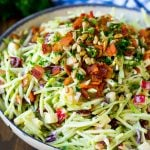 Broccoli slaw with apples, sunflower seeds and bacon, all tossed in a creamy dressing.