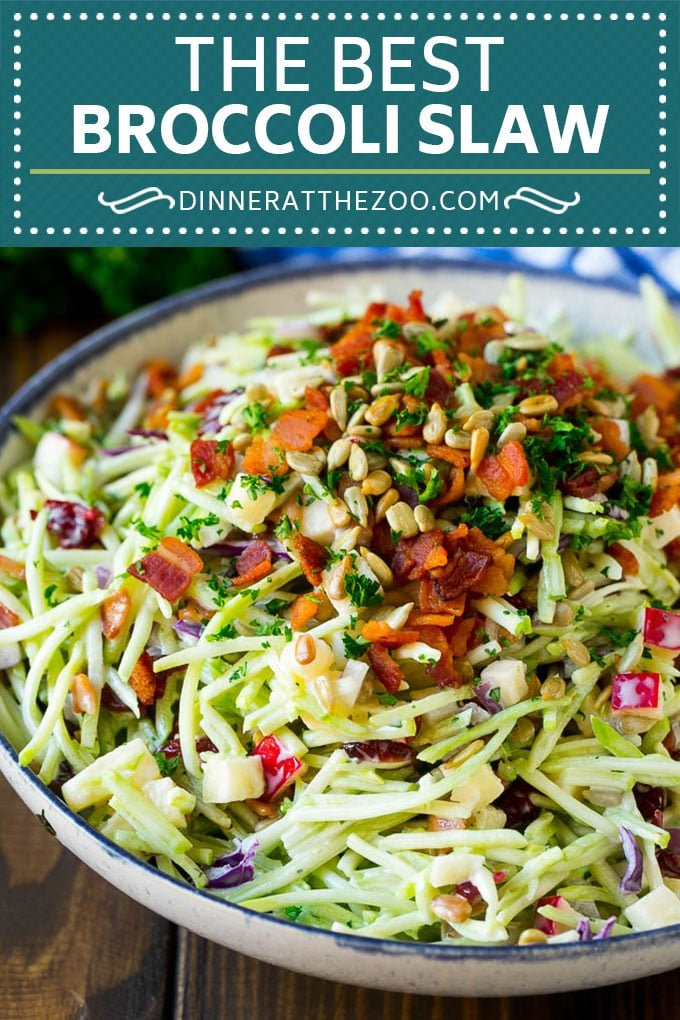 Bacon Broccoli Slaw Recipe | Coleslaw Recipe | Broccoli Slaw #broccoli #slaw #salad #apple #bacon #sidedish #lunch #dinneratthezoo