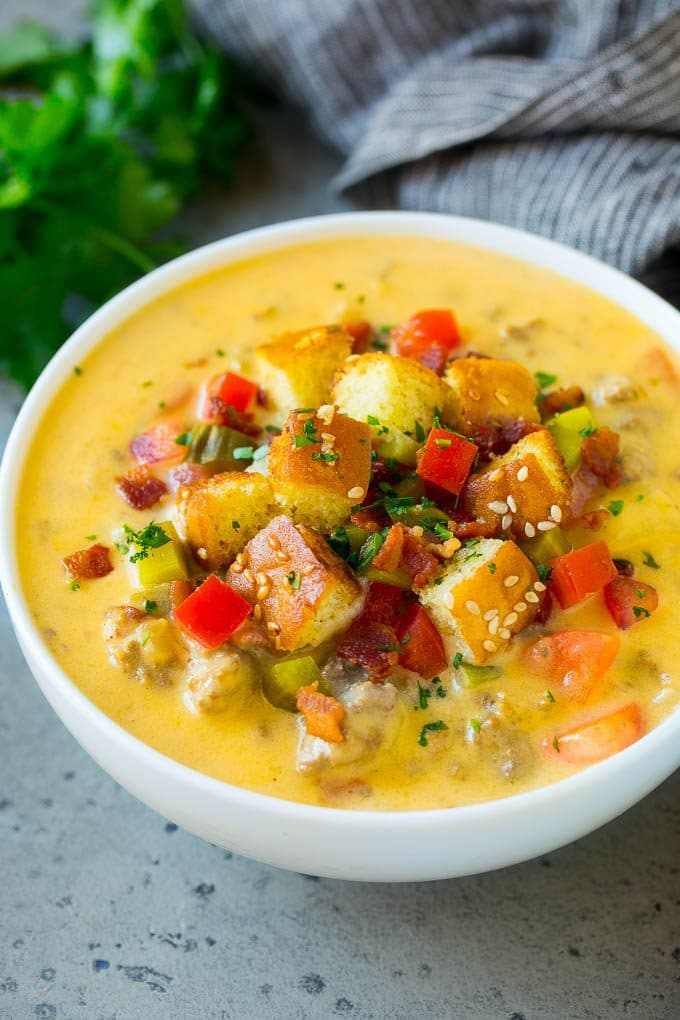 A bowl of cheeseburger soup