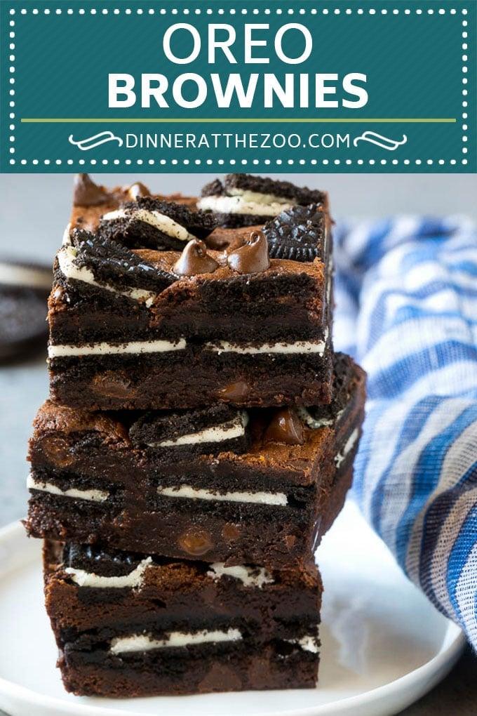 Oreo Brownies Recipe | Homemade Brownies | Chocolate Chip Brownies #brownies #oreos #chocolate #dessert #sweets #dinneratthezoo