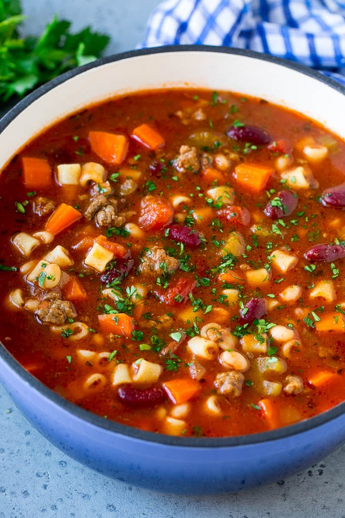 A pot of pasta e fagioli soup made with ground beef, vegetables, beans and pasta.