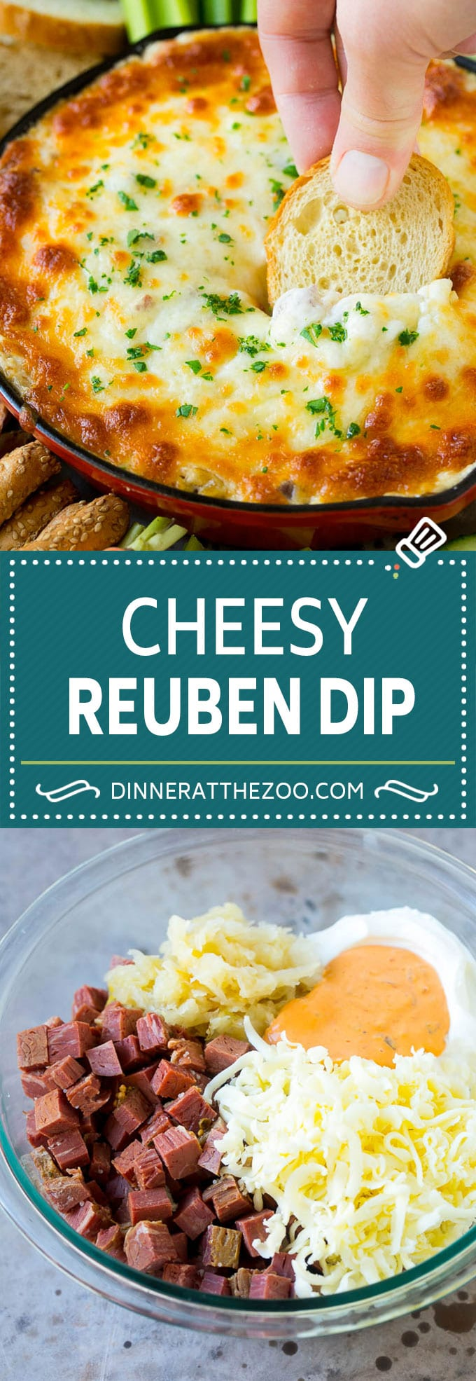 Reuben Dip Recipe | Corned Beef Dip | Cheese Dip #dip #cheese #cornedbeef #appetizer #lowcarb #keto #dinneratthezoo