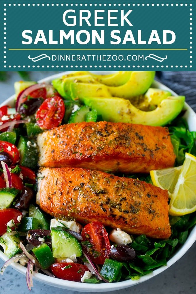Greek Salmon Salad Recipe | Low Carb Salmon Recipe | Salmon Salad #salmon #seafood #fish #lowcarb #keto #lunch #dinneratthezoo #healthy