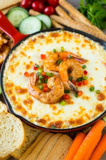 Hot shrimp dip with three types of cheese and Cajun seasoning.