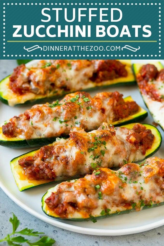 Stuffed Zucchini Boats Recipe | Baked Zucchini | Low Carb Zucchini #dinner #lowcarb #keto #zucchini #sausage #dinneratthezoo
