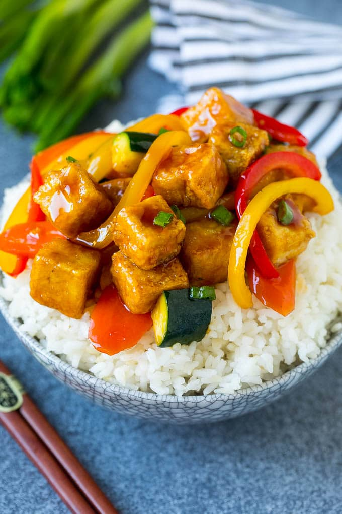 Tofu stir fry served over steamed rice.
