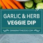Veggie Dip Recipe | Garlic & Herb Dip | Vegetable Dip #dip #appetizer #lowcarb #keto #vegetables #dinneratthezoo