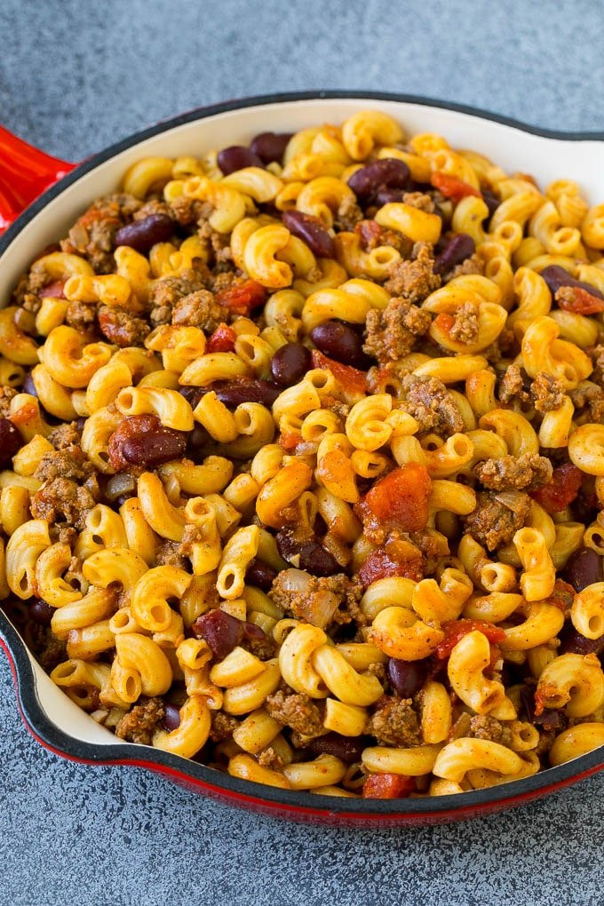 Chili mac made with beef, beans, tomatoes and spices.
