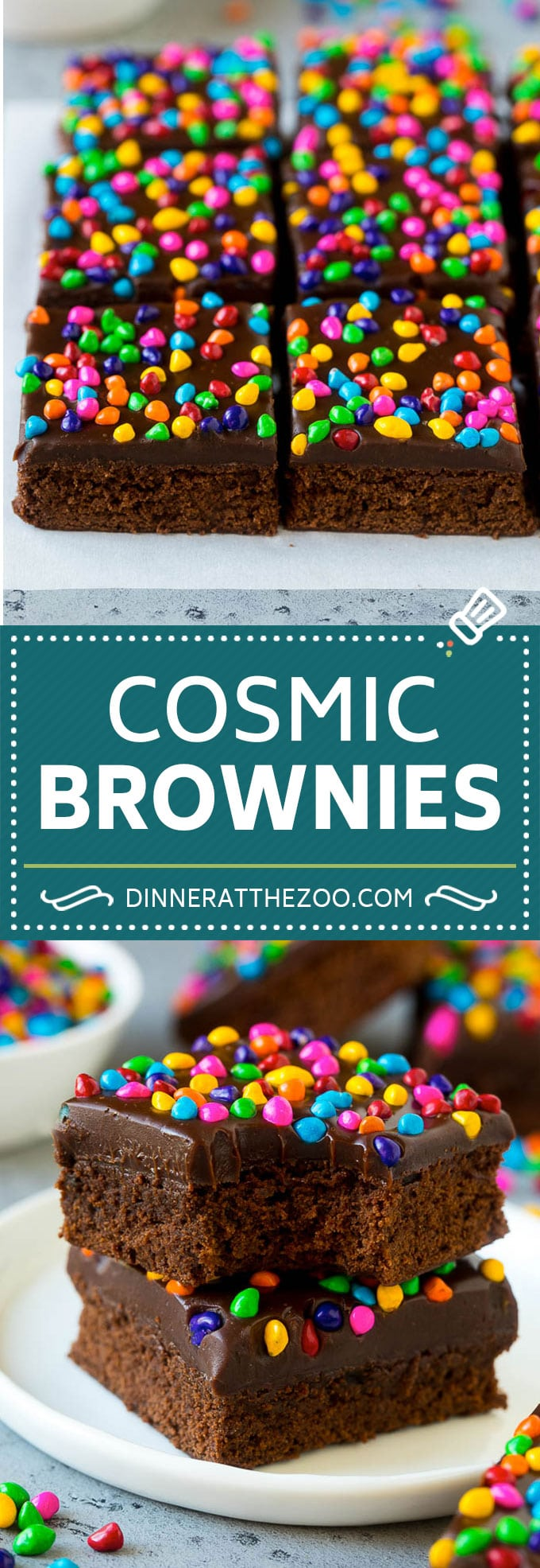 Cosmic Brownies Recipe | Cocoa Brownies | Frosted Brownies #brownies #chocolate #dessert #dinneratthezoo #sprinkles