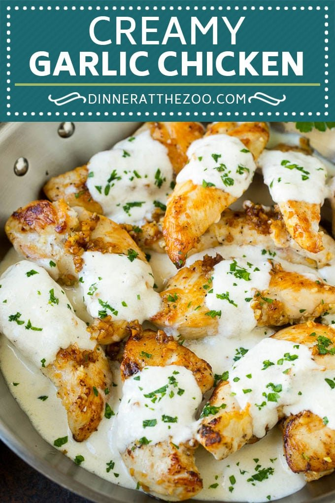 Creamy Garlic Chicken Recipe | Chicken Breast Tenders | Sauteed Chicken #chicken #garlic #parmesan #dinner #glutenfree #keto #lowcarb #dinneratthezoo