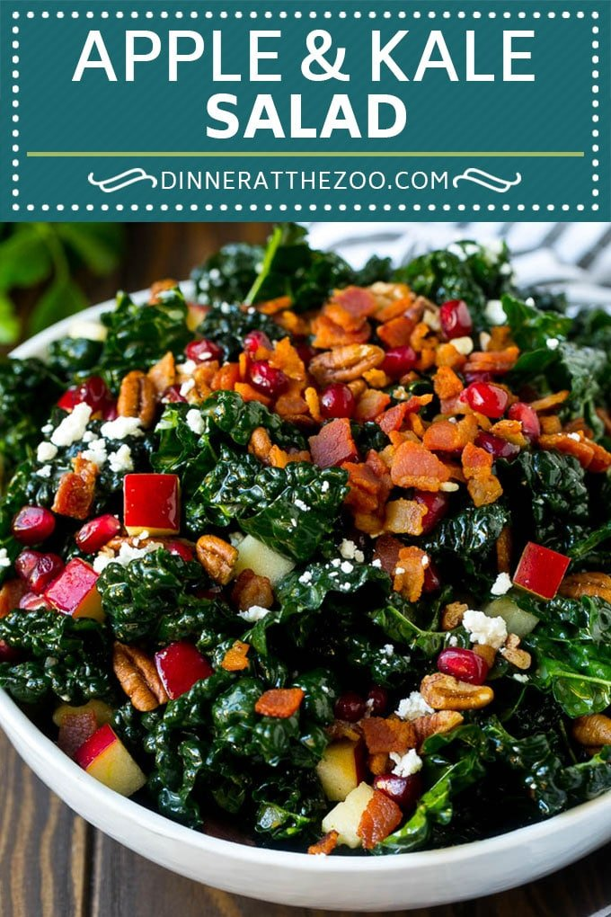 Apple Kale Salad Recipe | Kale Recipe | Fall Salad #kale #apples #bacon #salad #feta #dinner #lunch #dinneratthezoo