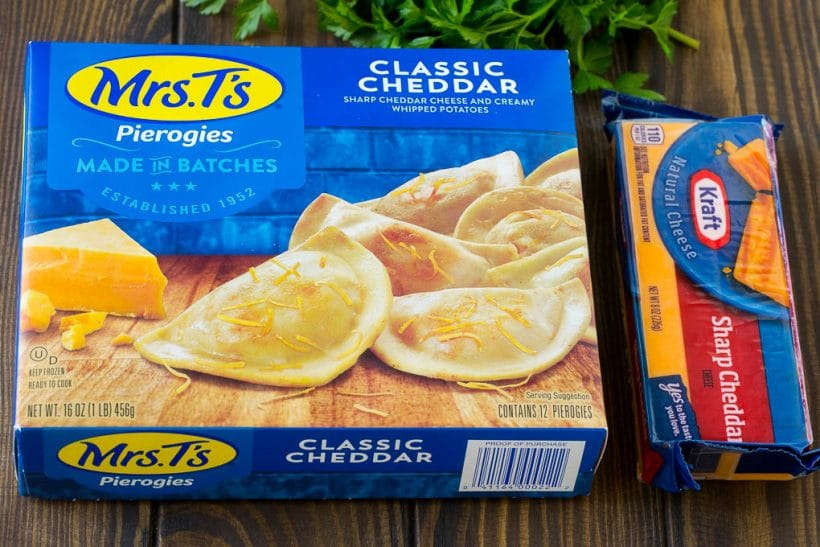 Mrs. T's pierogies and Kraft cheddar cheese.