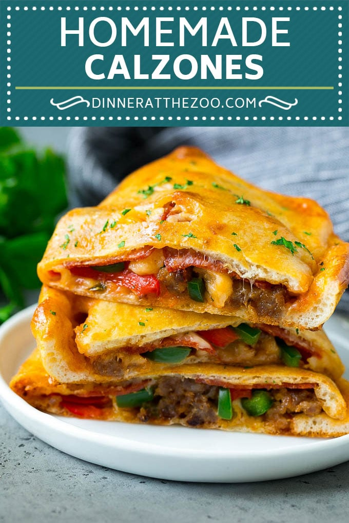 Calzone Recipe | Pizza Pockets #pizza #calzone #pepperoni #sausage #peppers #dinner #dinneratthezoo #cheese