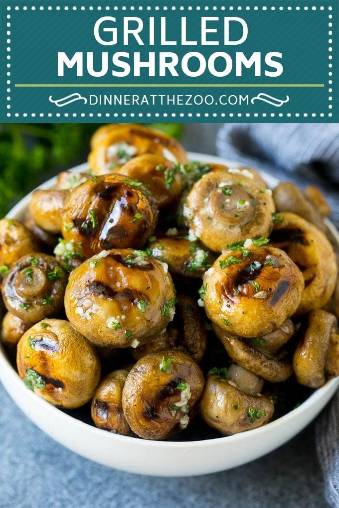 Grilled Mushrooms Recipe | Mushroom Kabobs | Mushroom Side Dish #mushroom #grilling #garlic #keto #lowcarb #dinneratthezoo