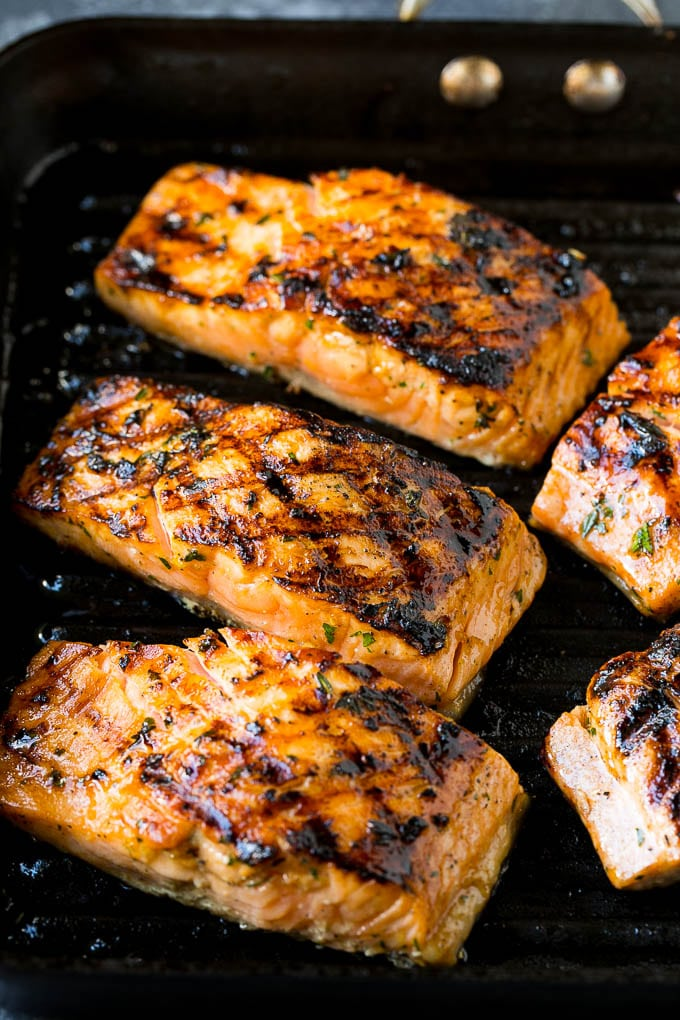Salmon fillets cooked on a grill pan.