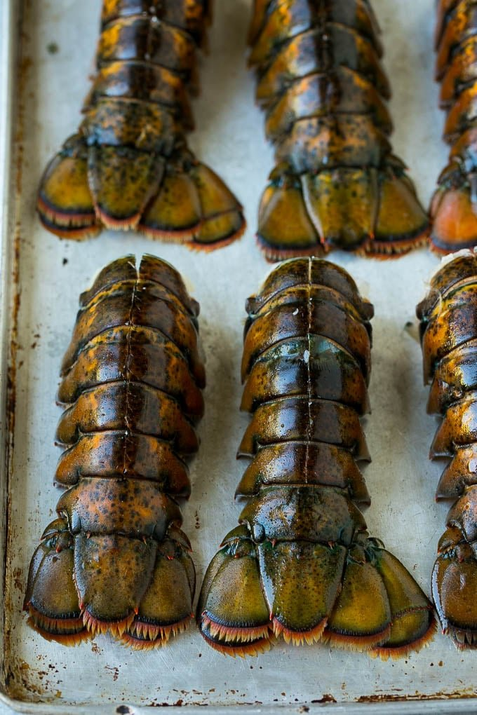 Lobster tails with a cut down the back of each one.