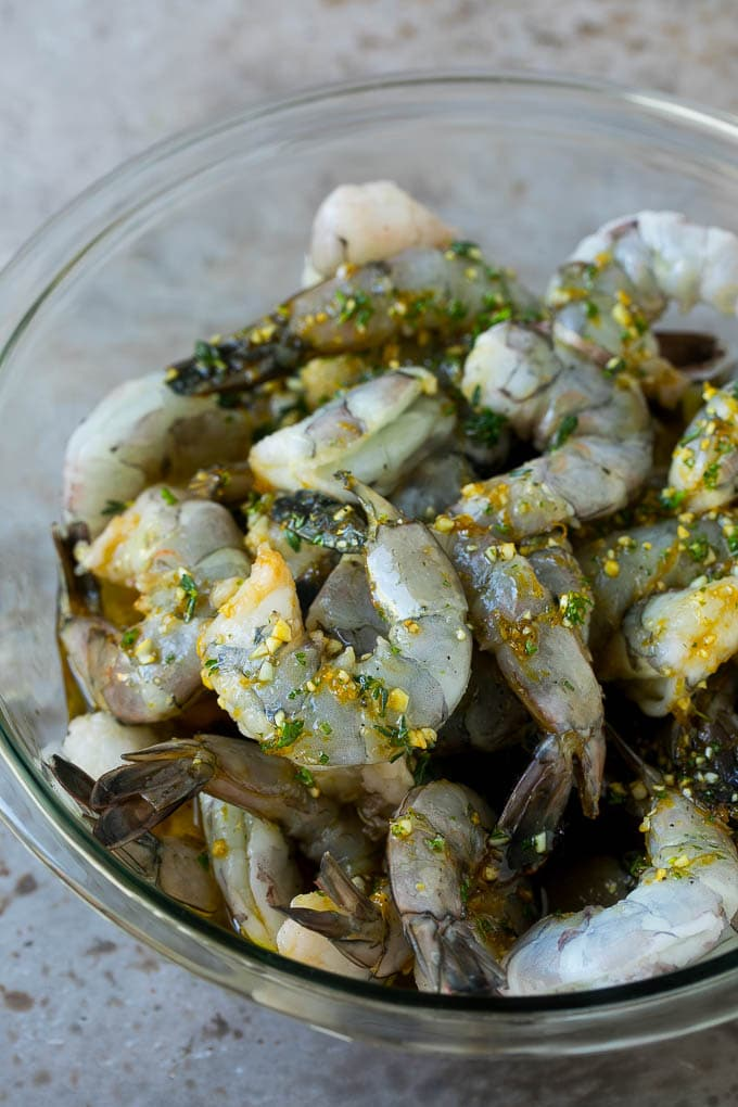 Shrimp marinated in garlic, herbs and olive oil.