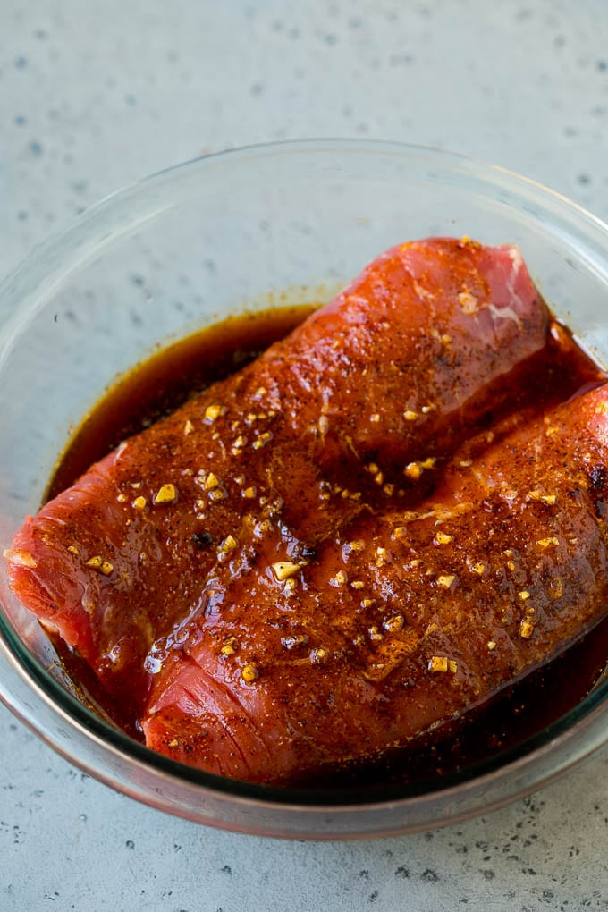 Flank steak in a garlic and lime marinade.