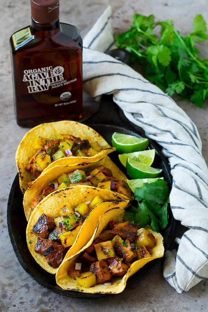 A platter of tacos al pastor.