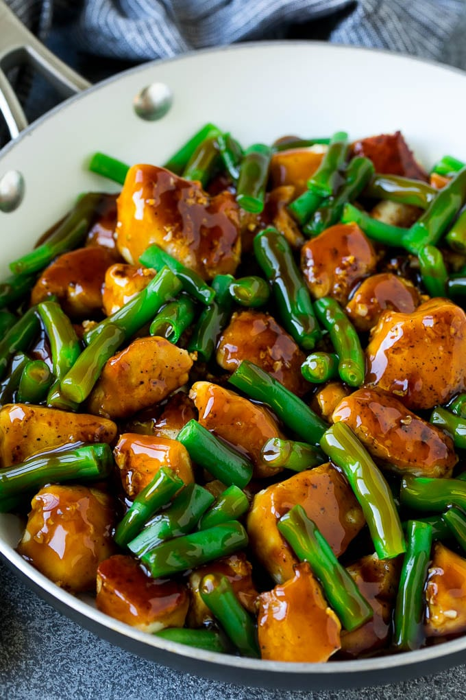 Chicken and green beans coated in honey garlic sauce.