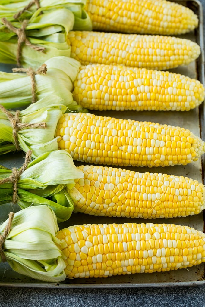 Bi-color corn on the cob on a sheet pan.